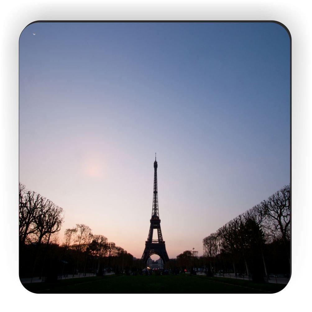 Rikki Knight Silhouette of Eiffel Tower Design Square Fridge Magnet