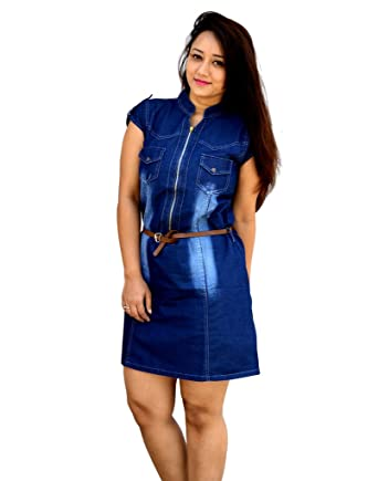 2a7ab1ff92 Aarti Collections Stylish Midi Jipper look Dark Blue Women s Denim Dress   Amazon.in  Clothing   Accessories