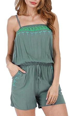 23648b277490 Pandapang Womens Sleeveless Shorts Beach Romper Spaghetti Strap Backless  Printed Leisure Jumpsuits Army Green XS