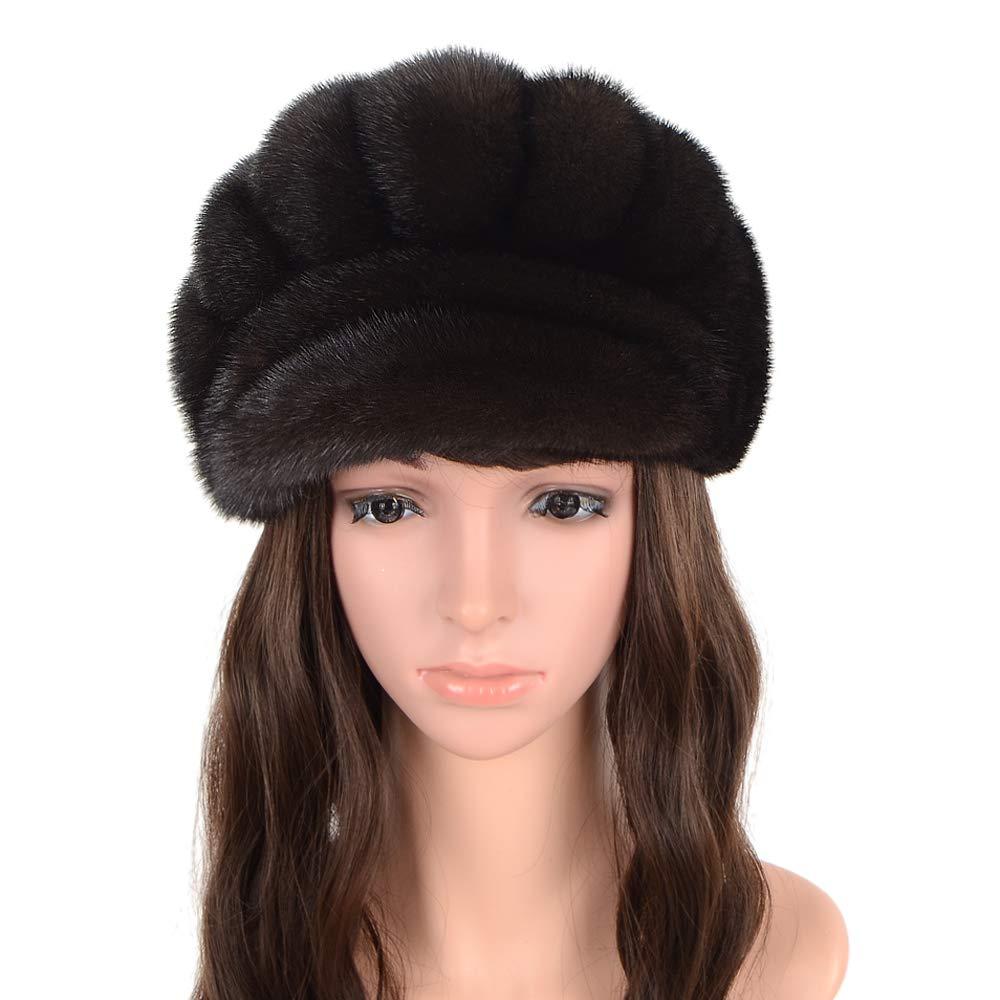 MH Bailment Women Winter Real Mink Hat (M, Black)