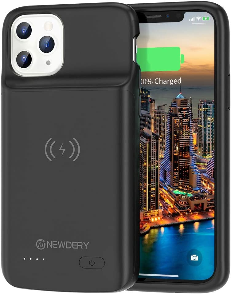 NEWDERY Upgraded iPhone 11 Pro Battery Case Qi Wireless Charging Compatible, 4800mAh Extended Rechargeable External Charger Case Compatible iPhone 11 Pro (5.8 Inches Black)