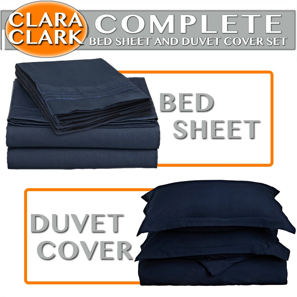 Clara Clark Bed Sheet and Duvet Cover Set Complete 7 Piece, Navy Dark Blue, Queen, 7