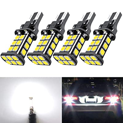 921 LED Bulb Upgrade Extremely Bright T15 912 W16W LED Bulbs 3030 Chipsets 24-SMD CANBUS LED Lamps Used For Backup Reverse Lights, 6000K Xenon White(4pcs/pack): Automotive