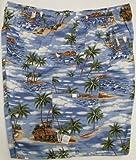Men's Cargo Shorts - Polynesian Island Elastic Waistband Inside Drawcord Flap Pocket Peached Cotton Shorts in Blue - M