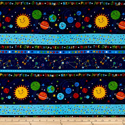 (Timeless Treasures Solar Power Solar System 11'' Stripe Fabric, Navy, Fabric By The Yard)