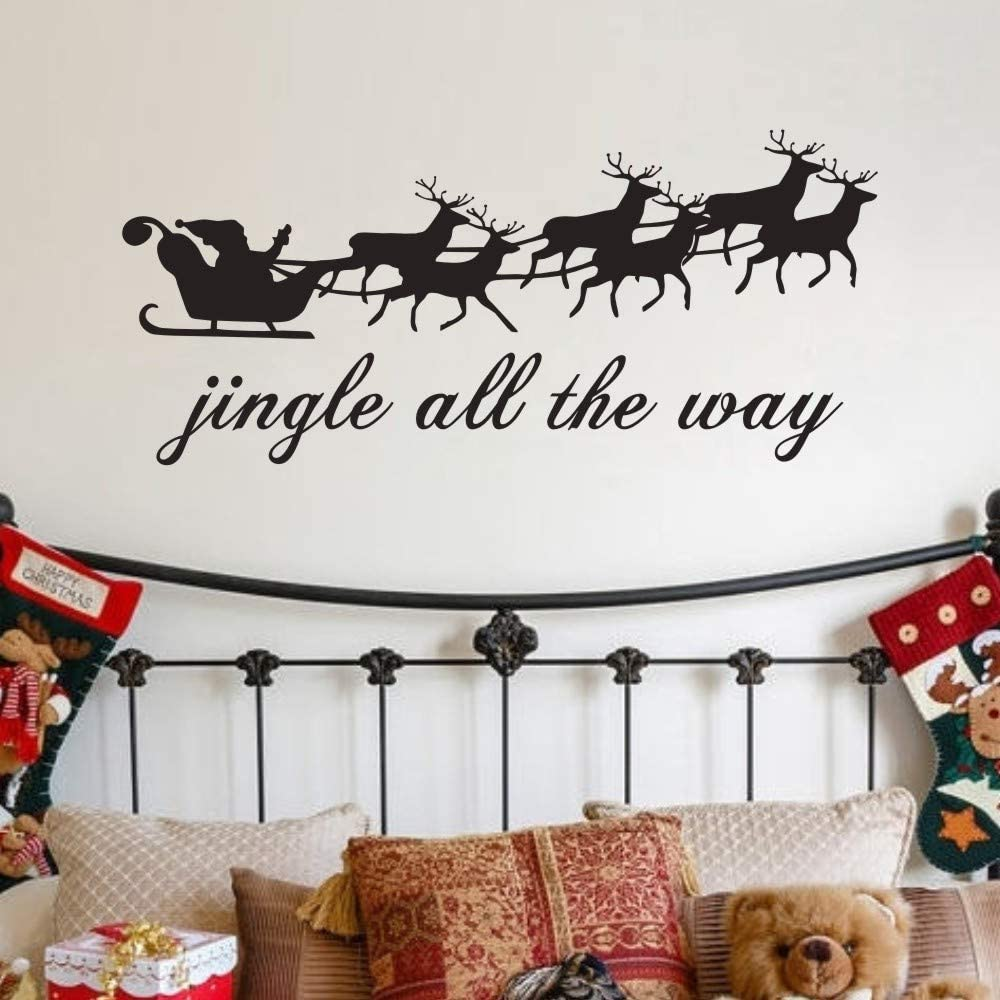 Christmas Santa Jingle All The Way Vinyl Decal Wall Sticker Words Quote Decor