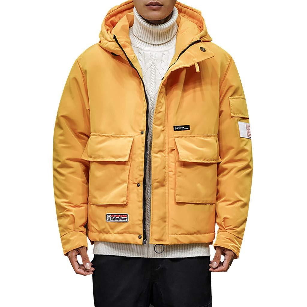 Botrong Fashion Men's Winter Casual Hooded Warm Cotton Clothing Coat (Yellow,XXL) by Botrong