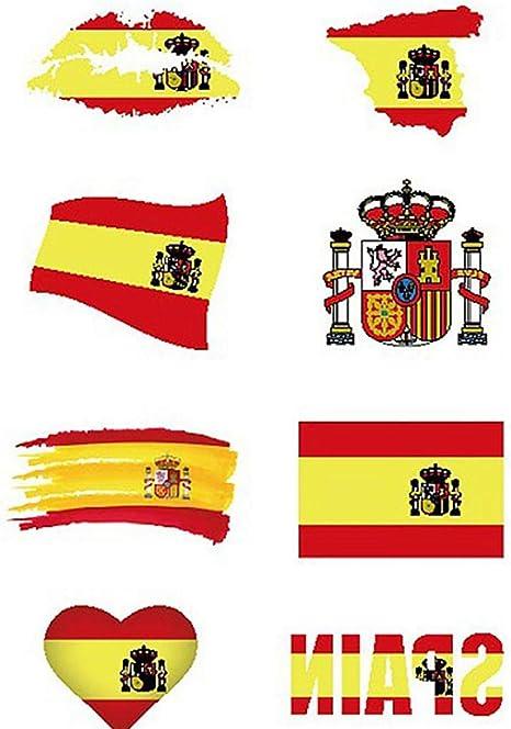1 Ajuste Impermeable España Copa Mundial Nacional De Las Etiquetas Engomadas De Pegatinas Cara Cuerpo Unisex Tatuajes Temporales: Amazon.es: Belleza