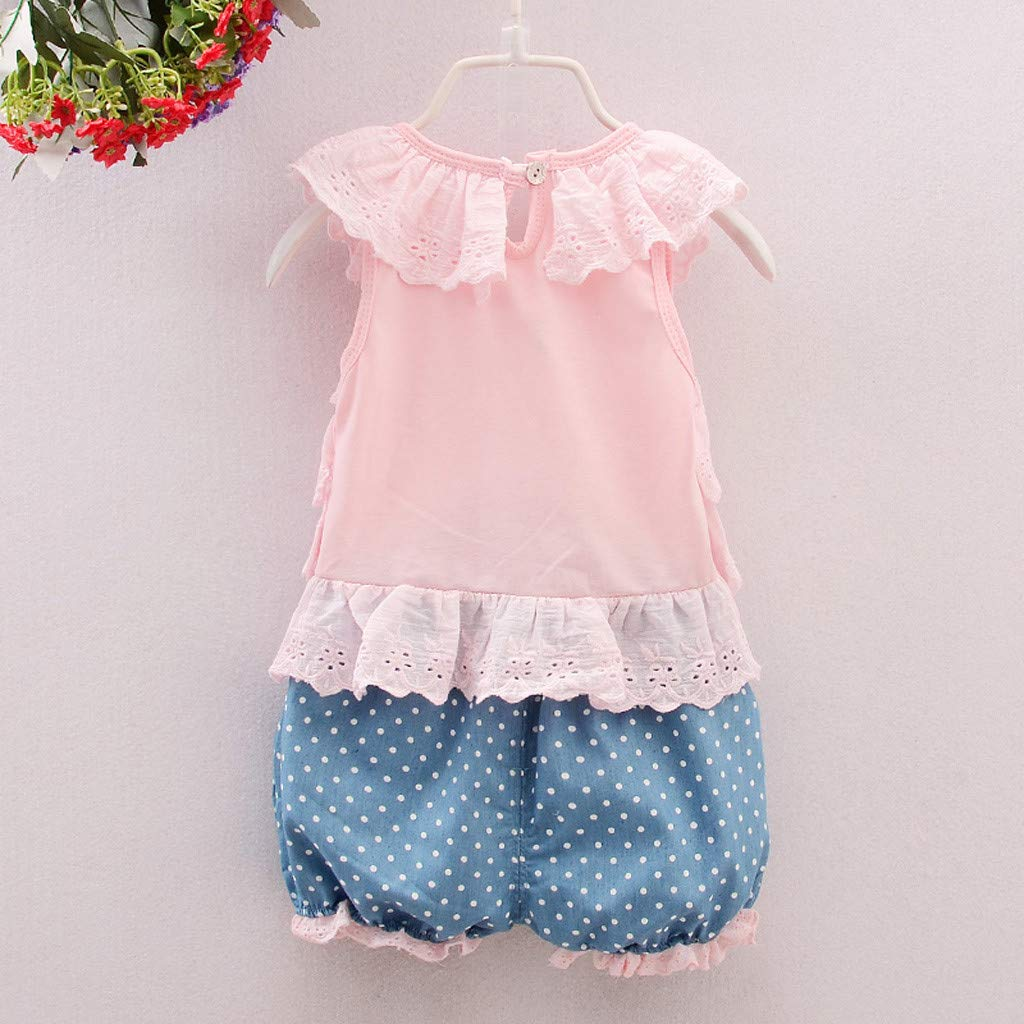 Ropa Bebe Ni/ña Verano Fossen 2PC//Conjuntos -Chaleco de Encaje con Volantes Pantalones Cortos de Estampado Lunares para Recien Nacido 1 a 3 a/ño