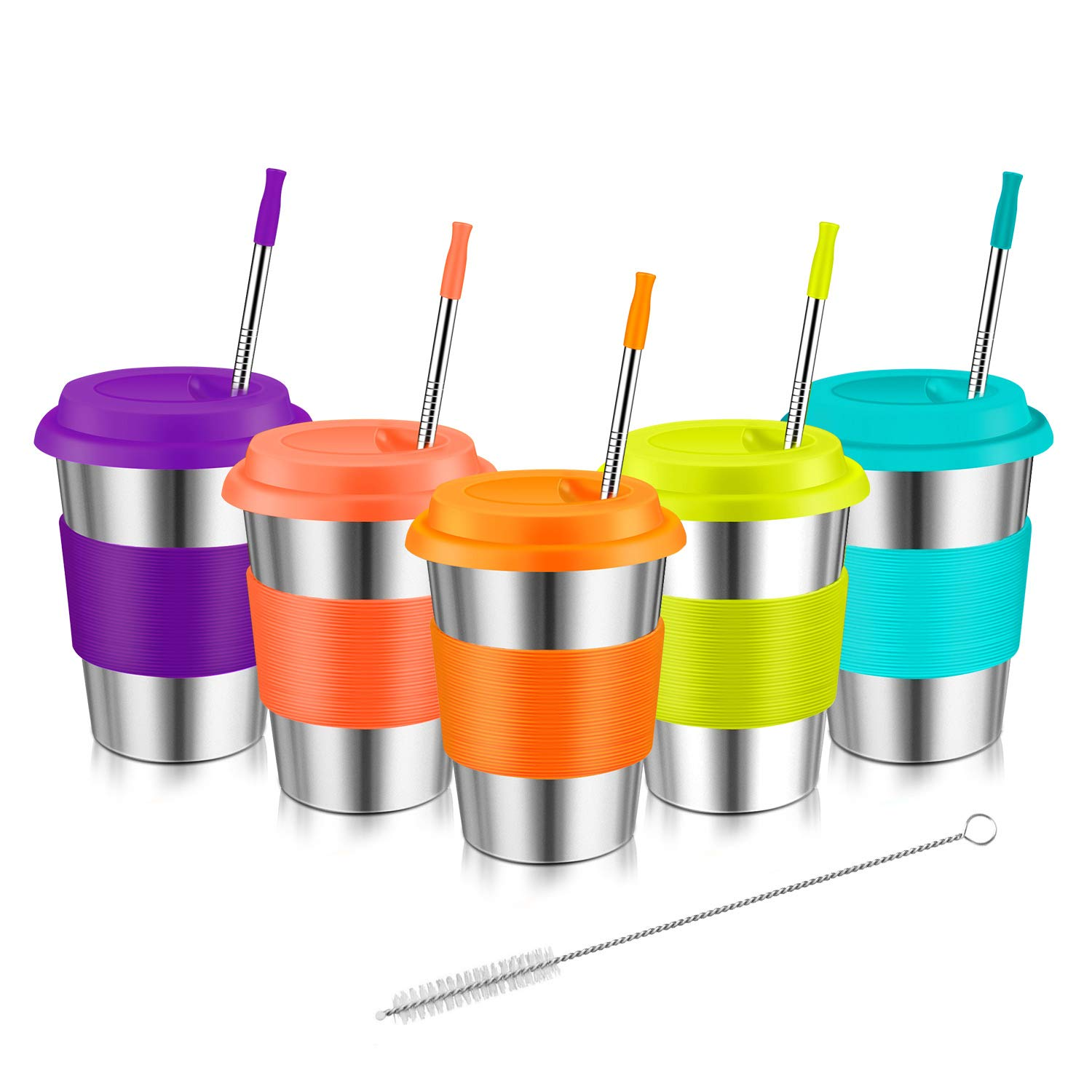 Stainless Steel Cups For Kids, Kereda 12oz. 5-Pack Tumblers Set Coffee Mugs Premium Drinking Glasses With Lids And Metal Straws Unbreakable