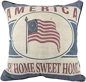 enFen Vintage USA Flag French Country 4th of July Pillow Covers Holiday Cotton Linen Throw Pillow Cases American Flag 16'' Square