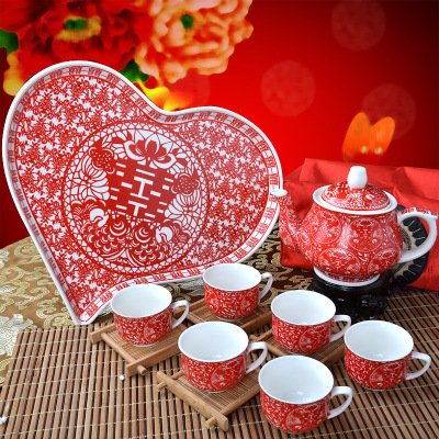 Tea Set - Doubles Happiness Pattern - Chinese Wedding Tea Ceremony - 6 cups and teapot set - with Heart Shape Base - Wedding Tea Ceremony