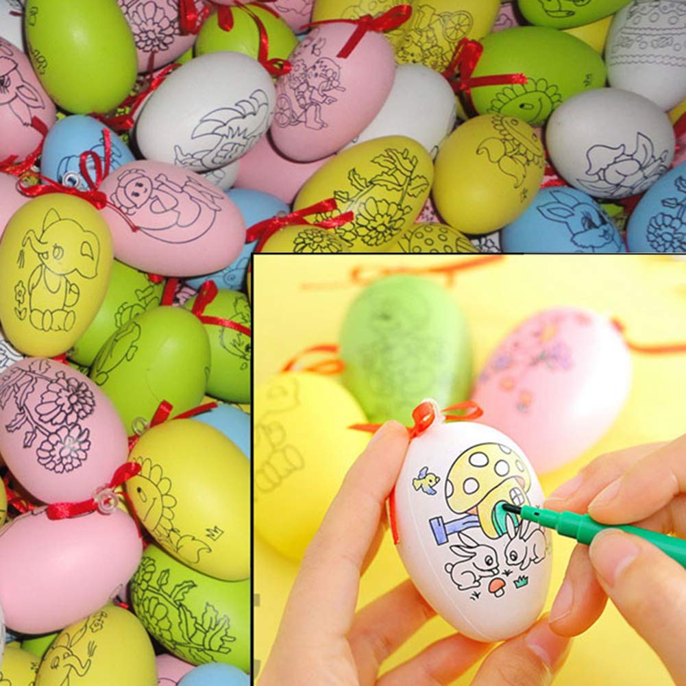 Maritown Easter DIY Hand Painted Plastic Eggs DIY Painting Gift Set Toys for Children and Adults (1 Egg,4 Random Colored Pen)