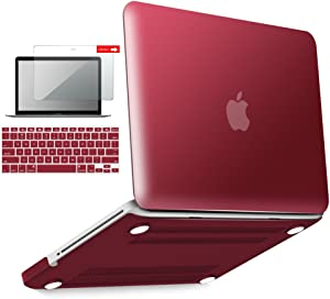 IBENZER MacBook Pro 13 Inch case A1278 Release 2012-2008, Plastic Hard Shell Case with Keyboard & Screen Cover for Apple Old Version Mac Pro 13 with CD-ROM, Wine Red, P13WR+2
