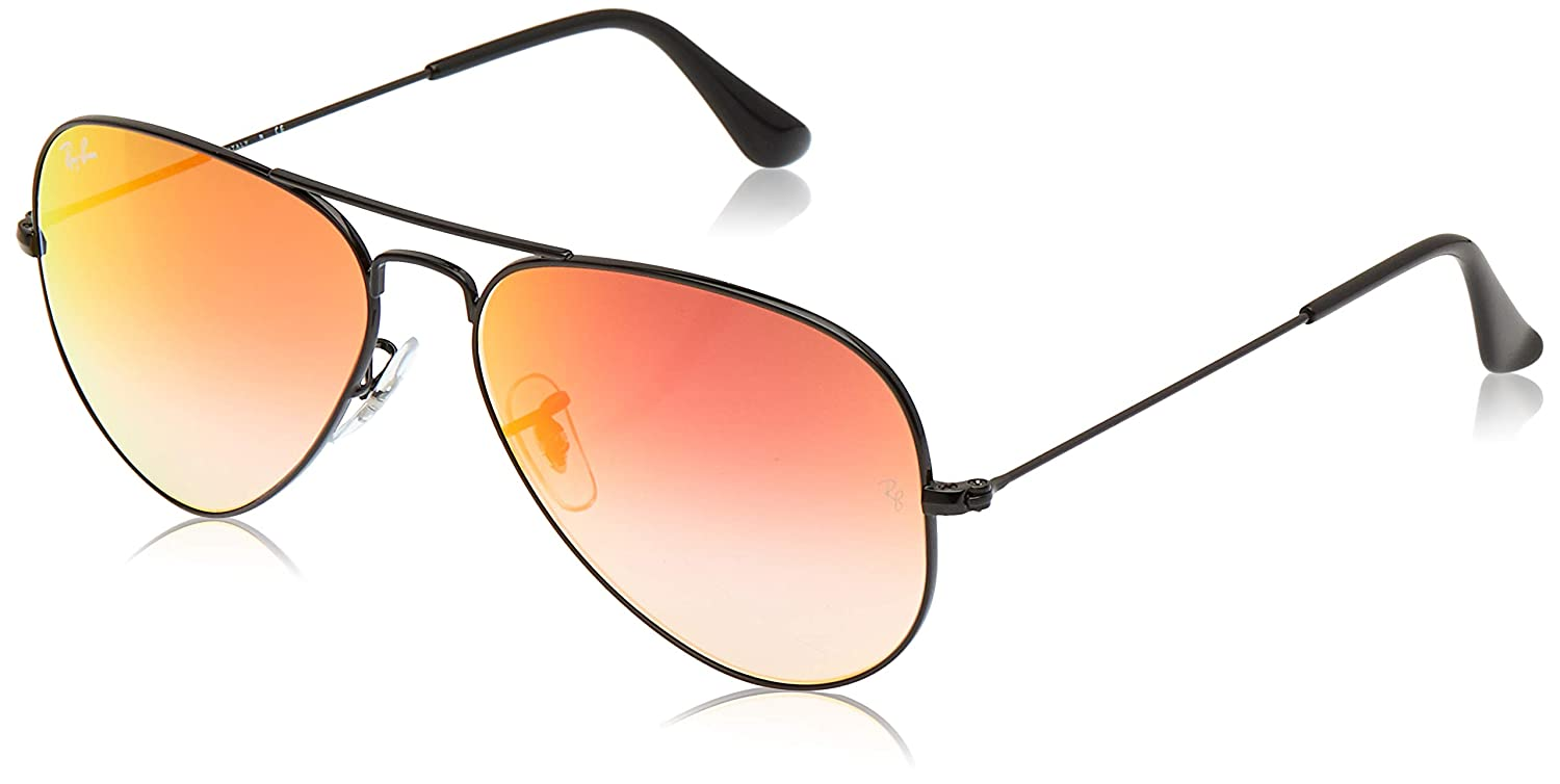 Ray-Ban Aviator Large Metal, Gafas de sol para Hombre, Negro (Orange Gradient Flash), 58