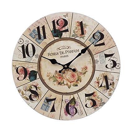 Sharplace Reloj de Pared de Madera Estilo Vintage Pastorale Patrón de Flore Rústico de Alta Calidad
