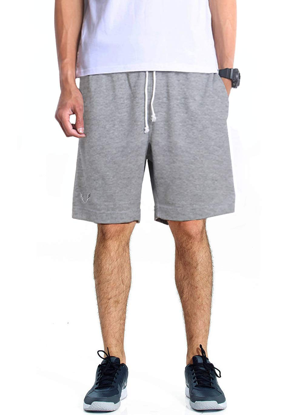 53edf11e43cb70 FIRM ABS Men's Casual Classic Fit Cotton Elastic Jogger Gym Drawstring  Shorts S Gray