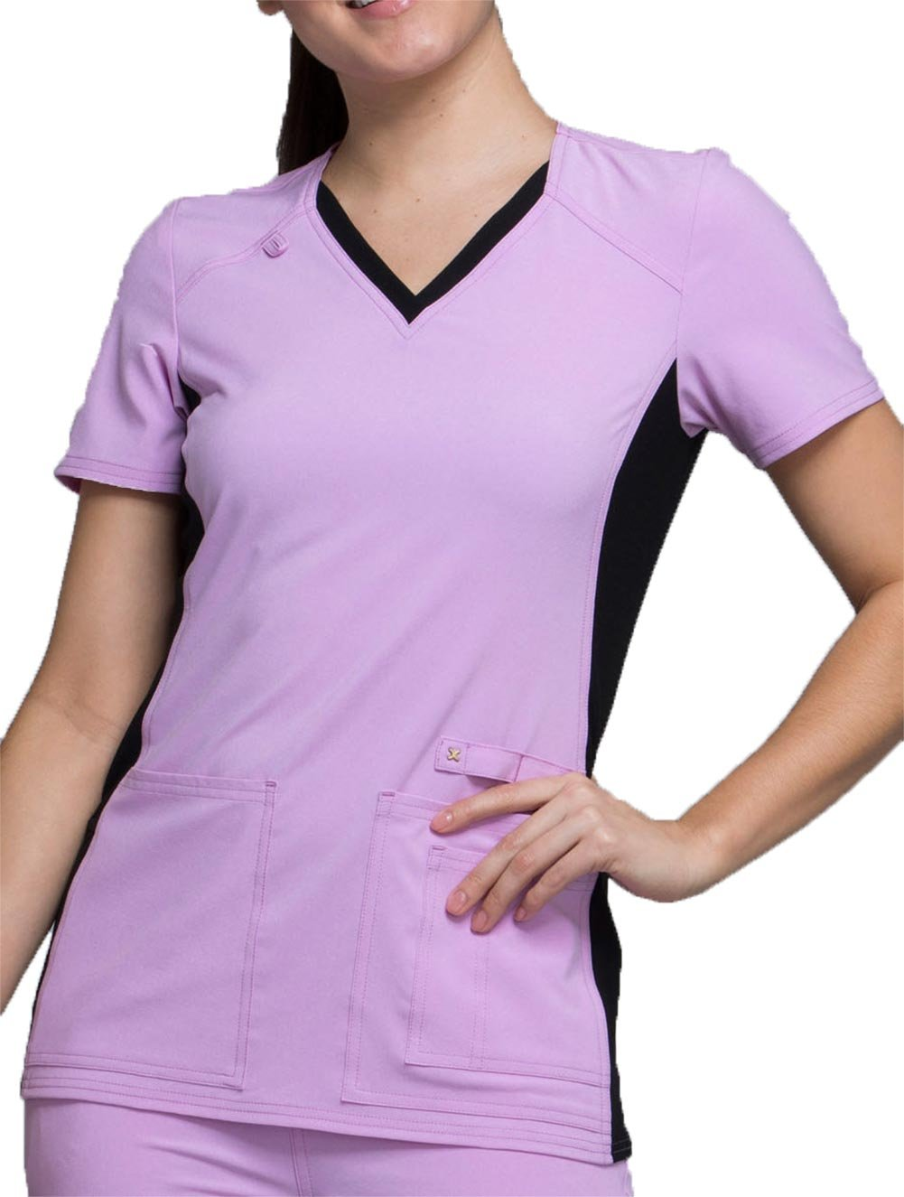Cherokee Iflex by Women's V-Neck Knit Panel Solid Scrub Top Large Lilac Love with Black Contrast by Cherokee (Image #1)