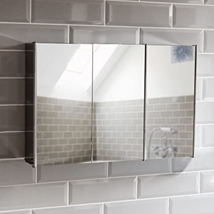 Bath Vida Tiano Bathroom Cabinet Triple Mirror Wall Mounted Stainless Steel Modern Storage Cupboard