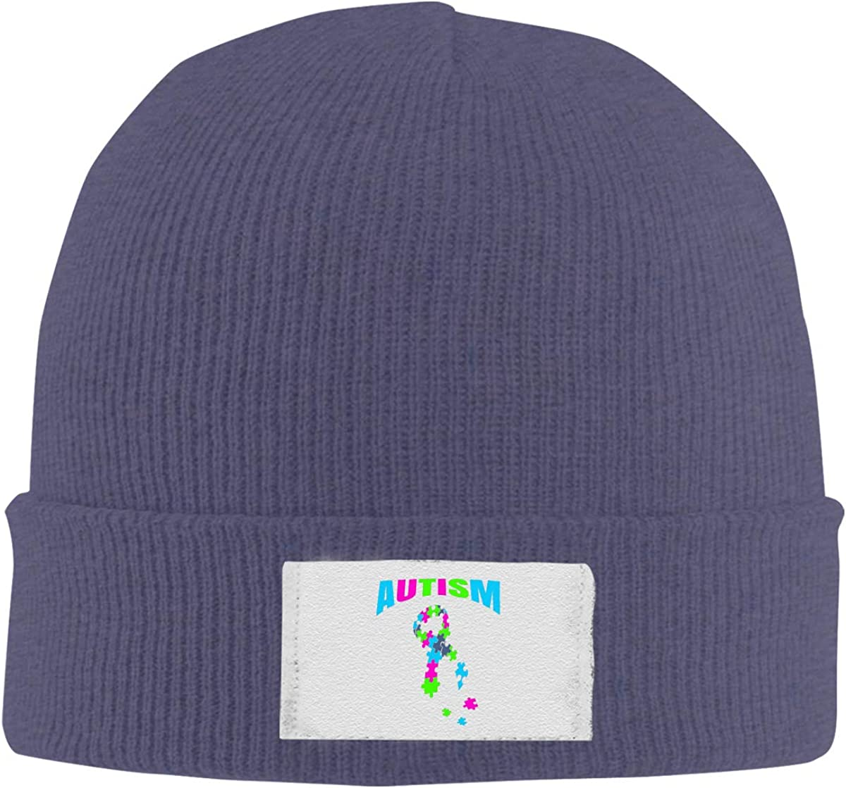 RZMdSG Autism Awareness Puzzle Pieces Unisex Winter Printed Warm Knitting Hats Skull Cap