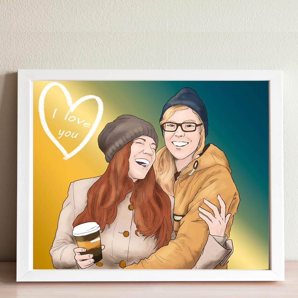 Customized People Portrait - Romantic Anniversary Gifts For Couples - Creative One Of A Kind Relationship Keepsake Ideas by Make Me A Comic