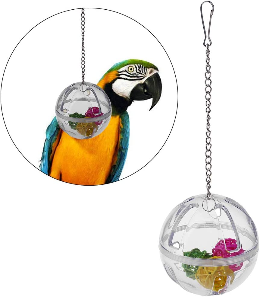 chenpaif Parrot Chew Toy Hanging Foraging Ball with Balls Inside Bird Cage Acrylic Stand