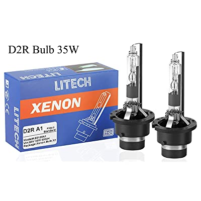 Litech D2R 35w Headlight Bulb 8000k Standard Replacement Car HID Xenon Headlight Bulbs (Pair): Automotive