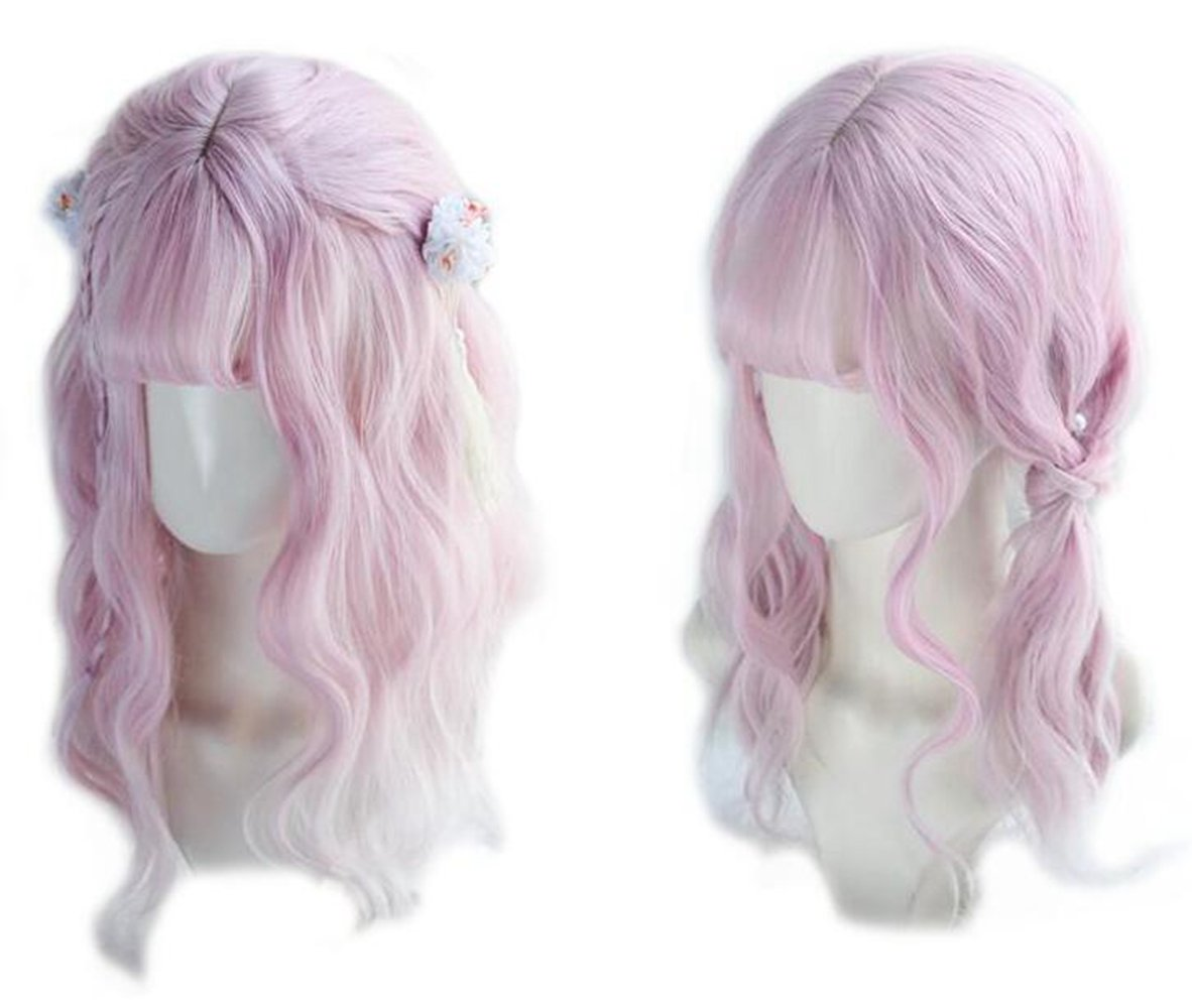 Bob Wigs for Women, Brown Pink Ombre Wavy Bob Wig with Bangs Cosplay Lolita Wigs Heat Resistant Synthetic Hair CYY mall