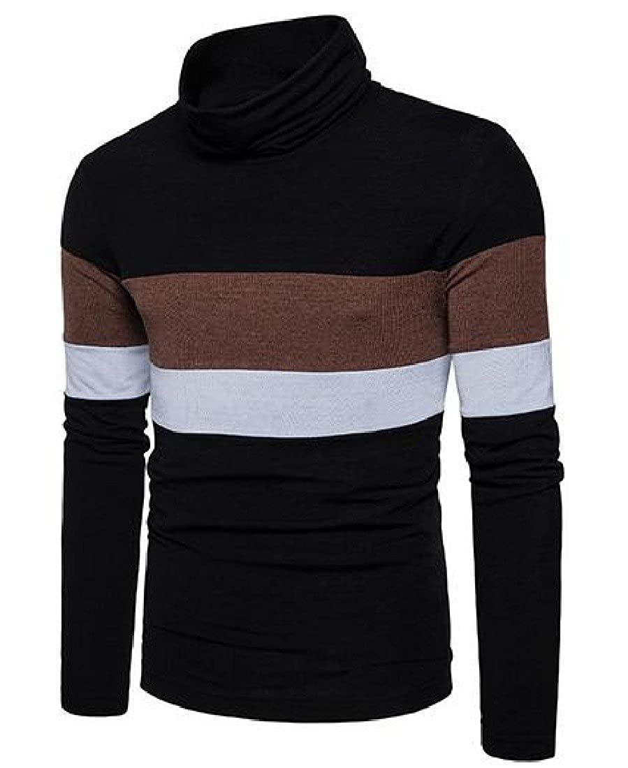 Sheng Xi Mens Splice Color Striped Turtleneck Pullover Sweaters Tops