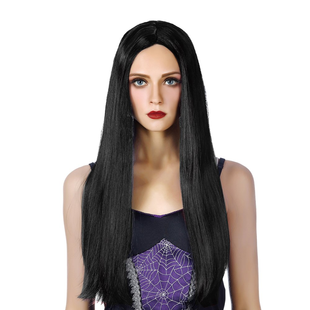 Black Long Witch Cosplay Wig for Women-Heat Resistant Synthetic Costume Halloween Party Full Vampire Hair Wigs
