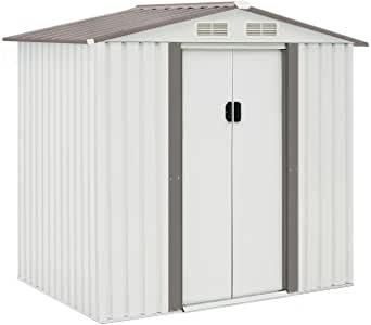 Incbruce Outdoor Storage Lawn Steel Roof Style Sheds 4' x 6' Outside Tool House with Sliding Door (White)