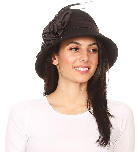ff96dd37329800 Sakkas 30041M Danielle Vintage Style Wool Cloche Hat - 2-Black - OS ...