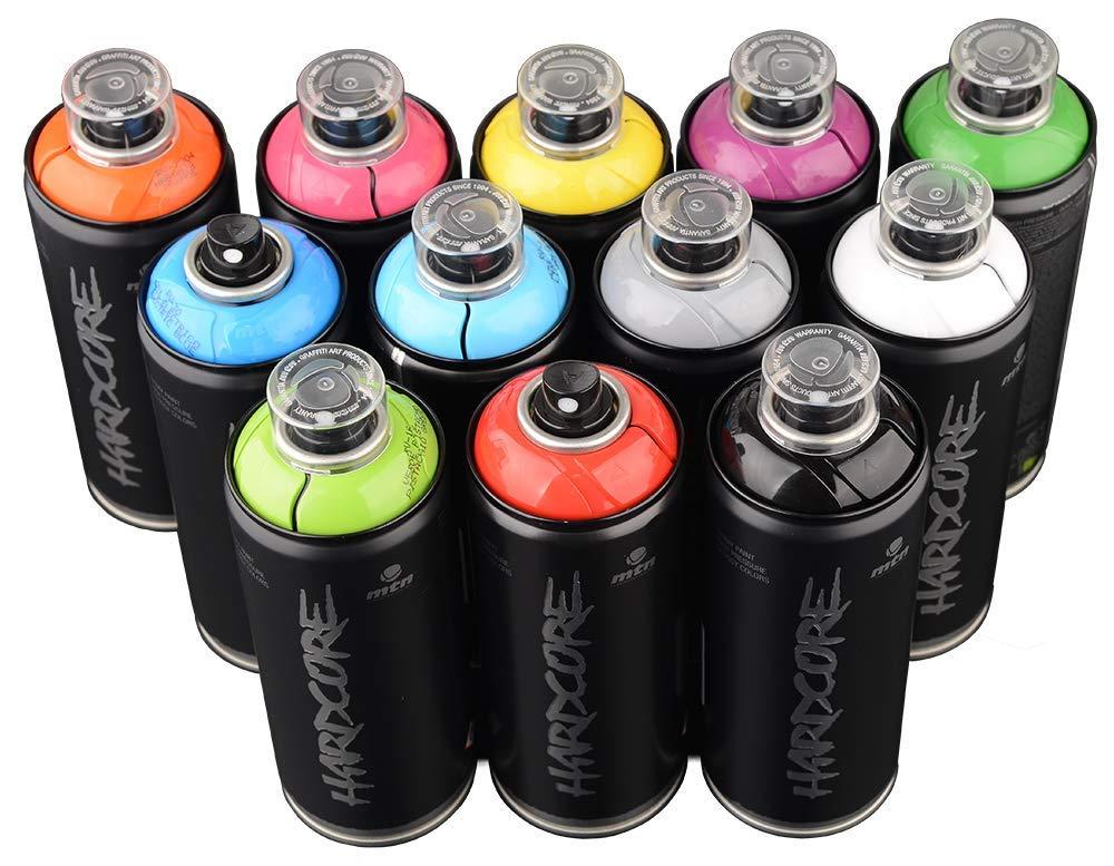 MTN HARDCORE 2 400ml Popular Colors Set of 12 Graffiti Street Art Mural Spray Paint
