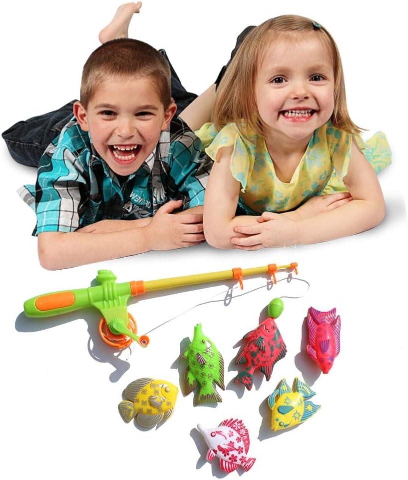 Set Enfants Canne /à p/êche magn/étique mod/èles de Poissons Attraper Jeu Jouets de Bain Cadeau interactif Uyuke 7pcs