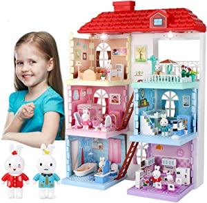 Doll House for Toddlers Doll Cottage with Furniture, 6 Lovely Scenes Assembles Toys with Music and Lights