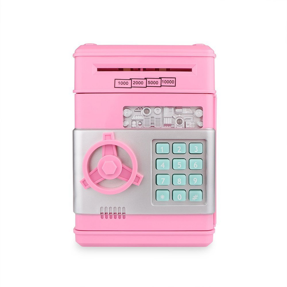 Cash Bank Sunsbell Password Box Saving Banks ATM Coin Saving Coin Cash Banks for Christmas/Thanksgiving (Pink)