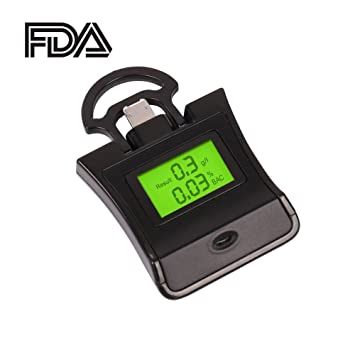 Breathalyzer, Breath Alcohol Tester, Alcohol Detector with LCD Display and Folding Rings for iPhone7