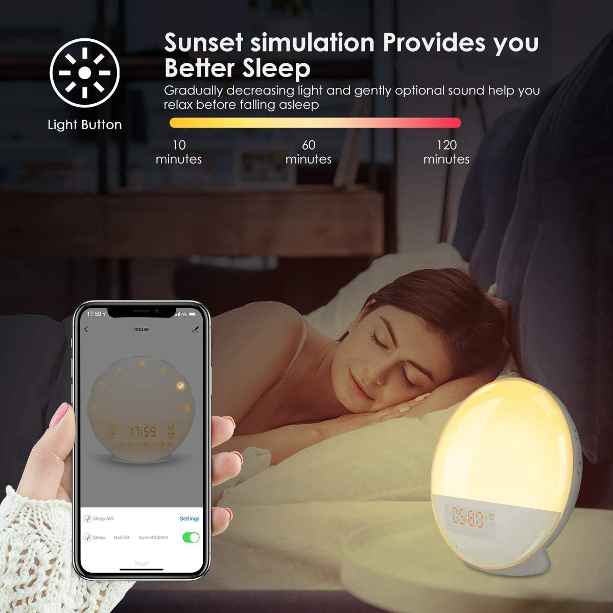 USB Charge Port 4 Alarms Snooze Dimmer FM Radio Sunrise Digital Alarm Clock Smart Wake-up Light 7 Colored Changed Sunrise Simulation Creative Gift for Kids Adults 7 Nature Sounds Sleep Aid