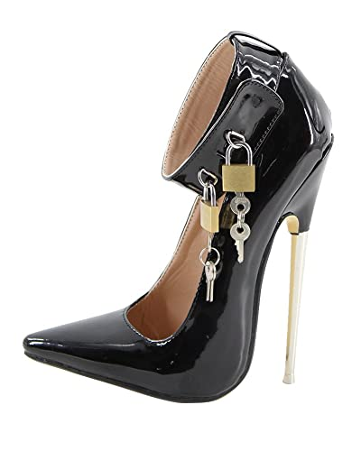 WONDERHEEL Stilleto Ankle Strap High Heel Patent Padlocks Fetish Pumps