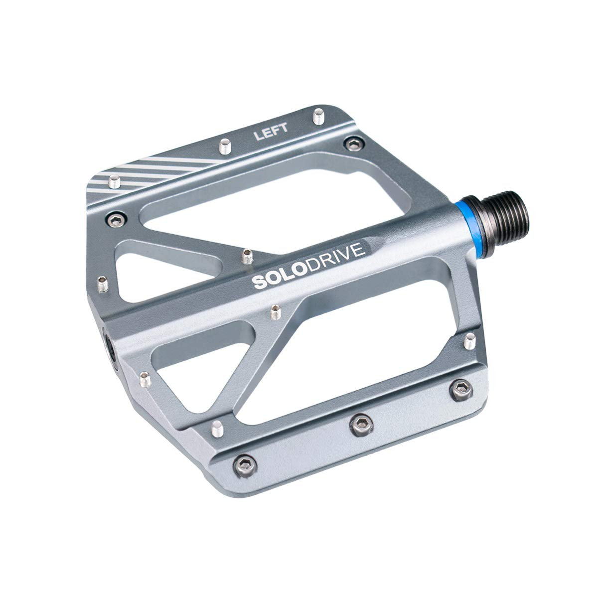 SOLODRIVE Mountain Bike Flat Pedals, Low-Profile Aluminium Alloy Bicycle Pedals, Light Weight and Thin Platform(Gray)
