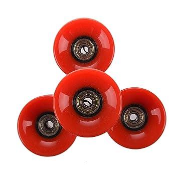 Ruedas de monopatin - TOOGOO(R)Conjunto de 4 Ruedas de monopatin 6 cm de diametro y 4,5 cm de ancho para Penny rojo: Amazon.es: Deportes y aire libre
