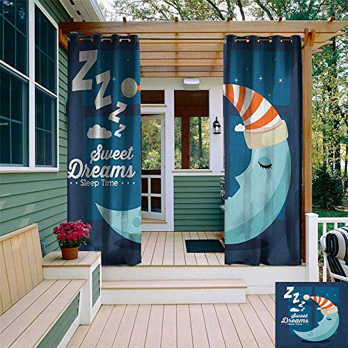 leinuoyi Sweet Dreams, Outdoor Curtain Ends, Sleeping Time Bedroom Window Backdrop with Moon in a Hat in Starry Night Sky, Balcony Curtains W96 x L108 Inch Multicolor
