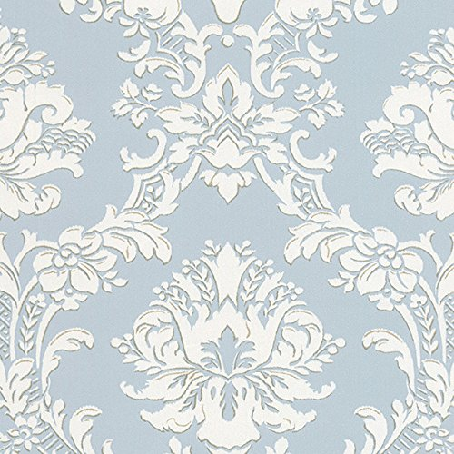 - Large Scale Damask in Blue and White - SD25646