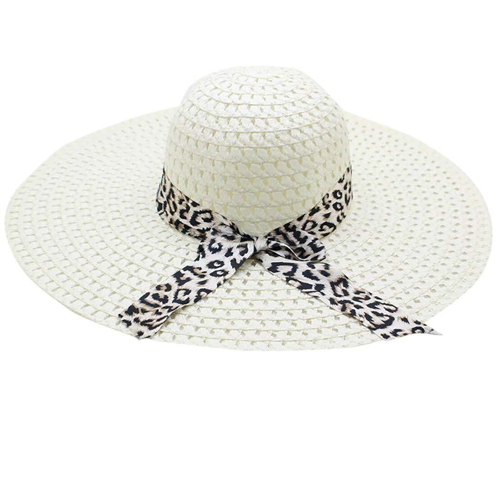 WUAI Womens Wide Brim Straw Hats Leopard Print Sun hat Folding Travel Beach Cap(Milk white,Free size)