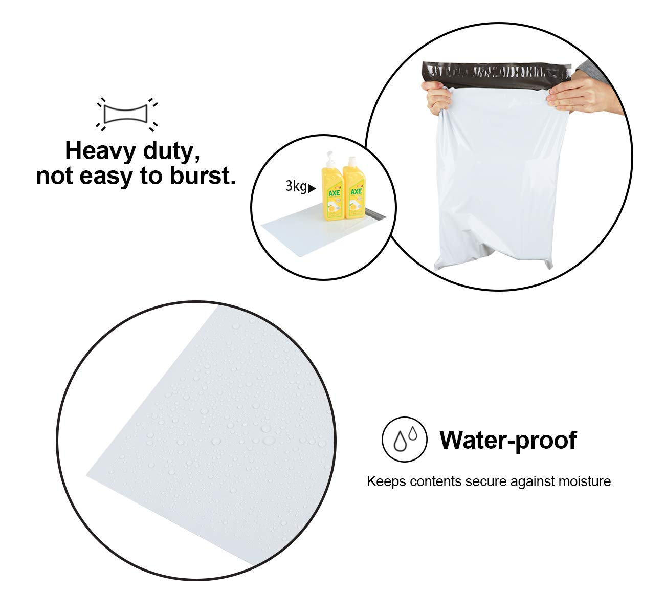 5,5 cm ilauke 35 x 45 cm colore: Bianco 60 buste per spedizioni in plastica