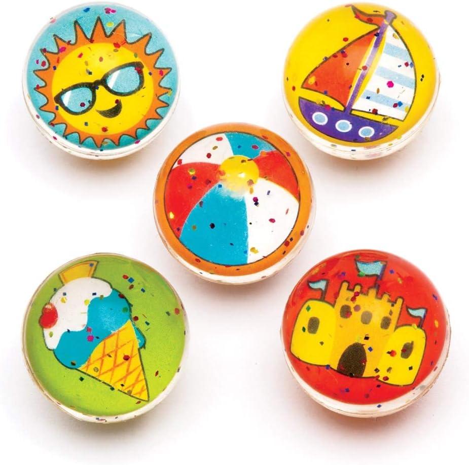 Baker Ross- Pelotas de goma con motivos de la playa con purpurina (Pack de 8) Bolas de goma para niños con diseños originales para bolsas sorpresa en fiestas o para jugar en el recreo