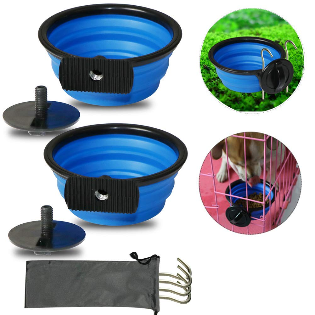 IDOMIK Collapsible Dog Bowls, 2 Pack Water Food Dishes for Dogs Cats Rabbit Bird, Dog Travel Bowls with Fixing Screw & Ground Pegs, Portable Pet Feeding Watering Feeder for Crate Cage Outdoor Use by IDOMIK