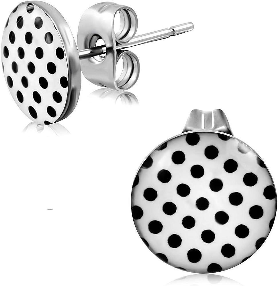 pair 6mm Stainless Steel 3-tone Star Of David Circle Stud Earrings - LEB543