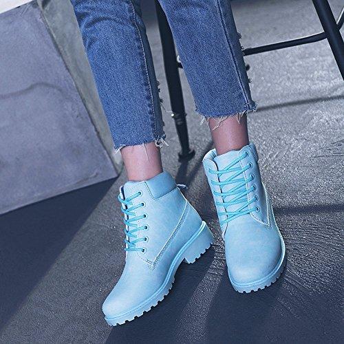 Frauen Faux Mode Flach Stiefel Niedrige Boden Elegant 41 Einzelne Schnürer Sonnena Schuhe Damen Stiefel Schlauchstiefel Rutschfest Blua Martin Warm Plateau 36 Stiefel Sexy Boots 7xfqq6XOw8