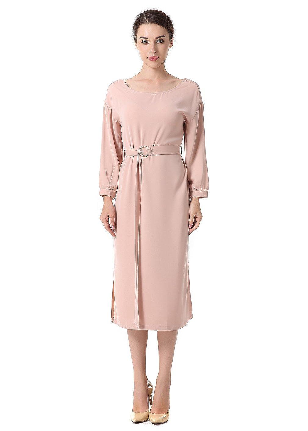 La Vogue Womens Soild Color Long Sleeve Round Neck Dress Split Party Dresses - Beige - 18/20: Amazon.co.uk: Clothing